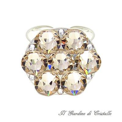 Anello con cristalli Swarovski Strass Light Silk champagne fatto a mano idea regalo - Sambuco