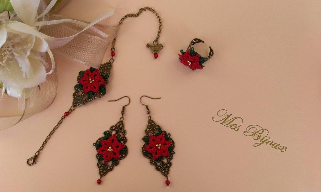Parure bracciale , orecchini e anello chiacchierino pizzo  rosso Stella di Natale idea regalo