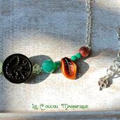 Collana Boho chic, semirigida, in argento con cristalli verdi