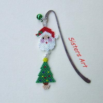 """Segnalibro """"Navidad"""" con ciondoli realizzati con perline delica"""