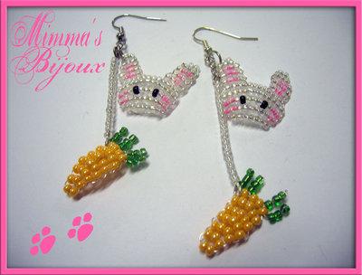 Orecchini Coniglietti Perline! :3