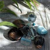 Collana lunga con pendente azzurro e argento