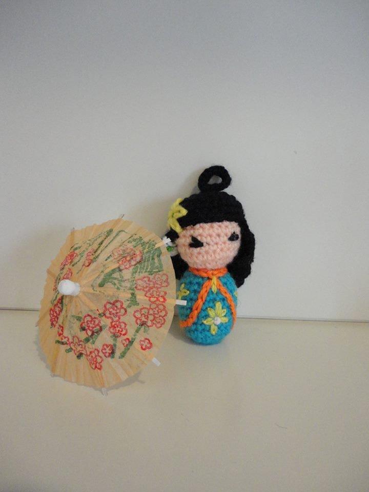 Kokeshi (Azzurra) bamboline giapponesi realizzate a mano