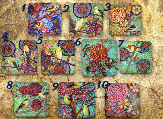 Particolare cabochon quadrato a tema floreale e animale (25x25) (cod. new)