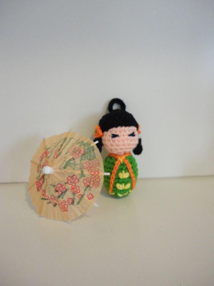 Kokeshi (Verde) bamboline giapponesi realizzate a mano