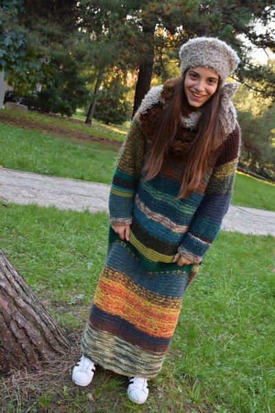 abito lana a righe tonalità sul verde