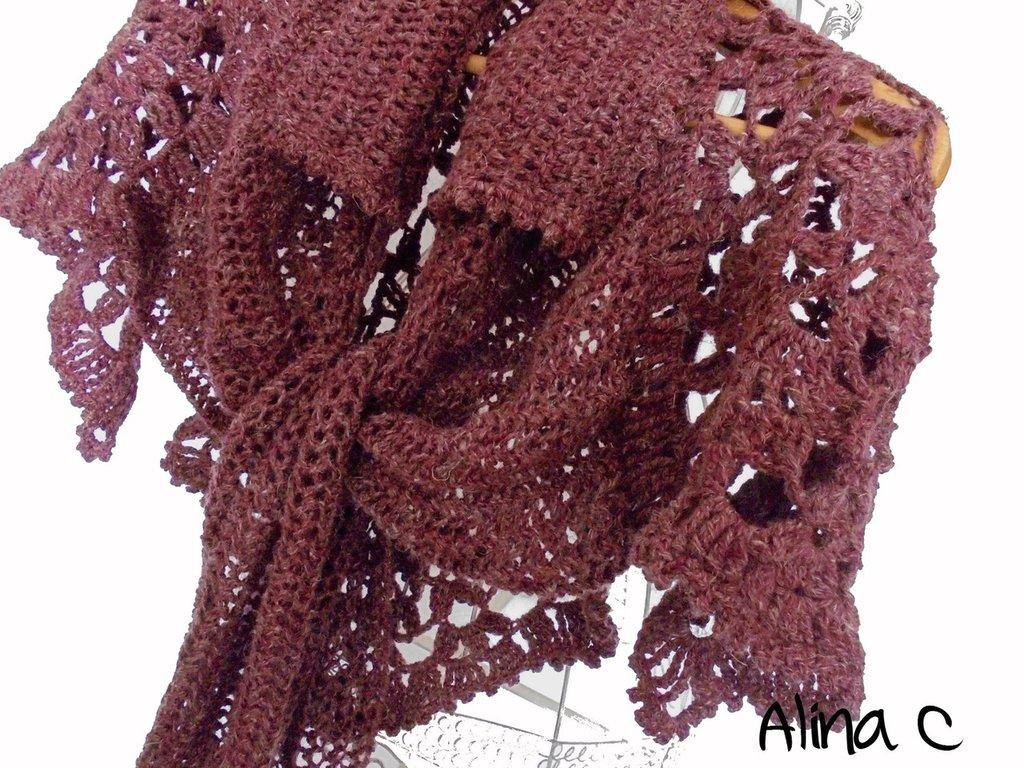 WoLi Scialle mantellina ai ferri e uncinetto in lana e lino, color rosso vinaccia, autunno inverno, moda donna