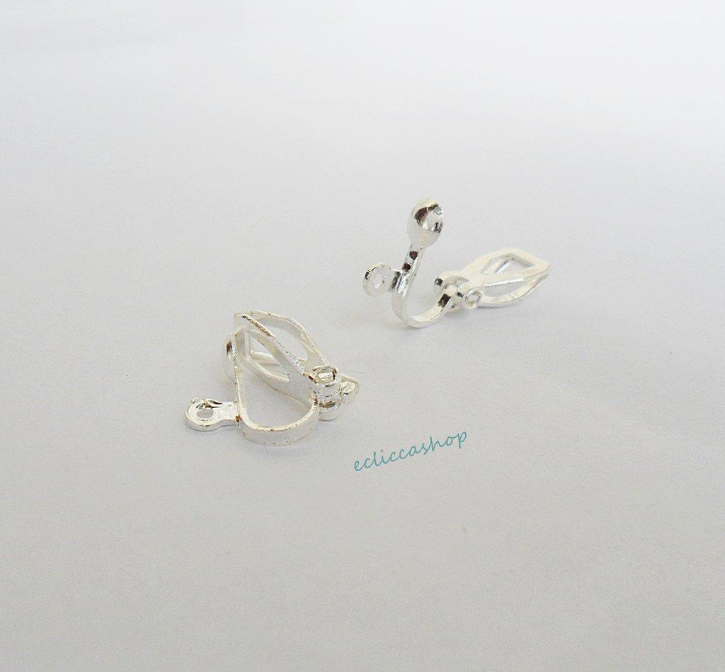 Base orecchini a clips color argento 3 coppie
