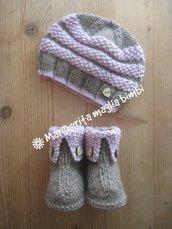 Stivaletti/scarpine e capellino/berretto neonata/bambina lavorati a maglia in lana e alpaca