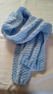sciarpa da bambina lana celeste