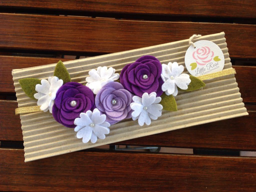 Fascia elastica con fiori e rose per capelli by Little Rose Handmade