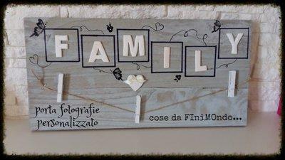 portafoto in legno con decorazioni in fimo Family