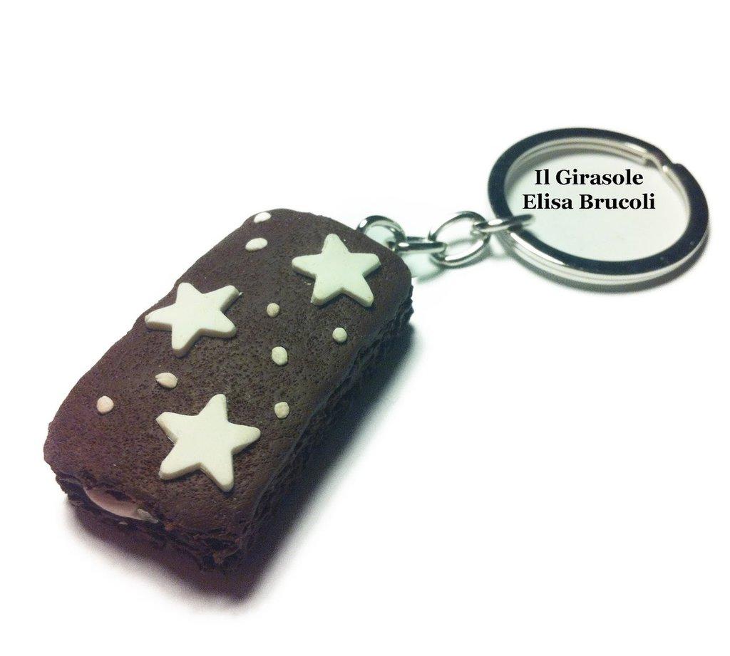 Portachiavi merendina al cioccolato con stelle