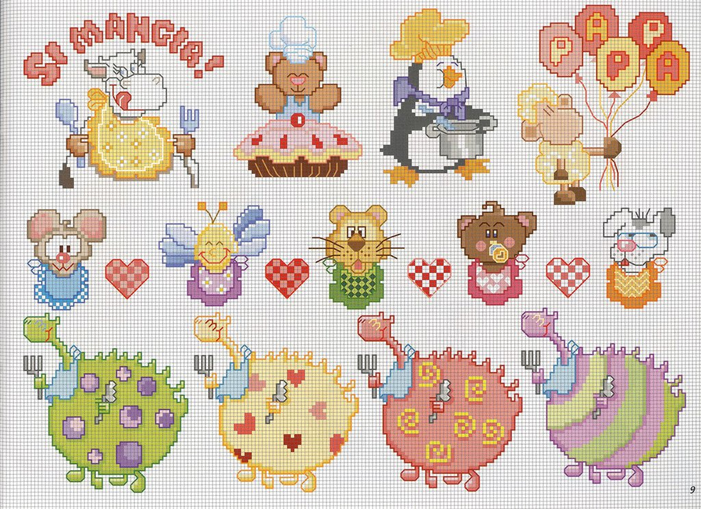 Schema animali pappa bambini ricamo punto croce libri for Punto a croce bambini