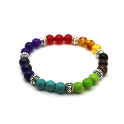 Bracciale con pietre e colori dei 7 chakra e argento tibetano