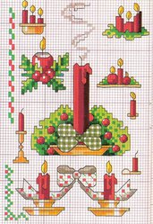 Schema candele natalizie, ricamo punto croce