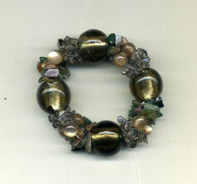 Bracciale elastico a 3 fili verde oliva