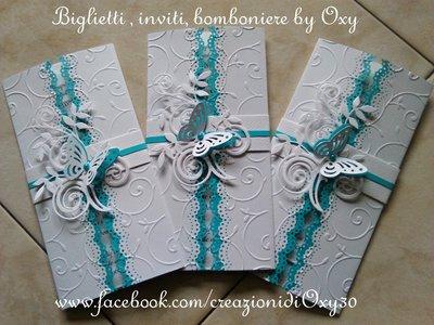 Partecipazioni Matrimonio Azzurro : Partecipazione per matrimonio in bianco e azzurro con la farfalla