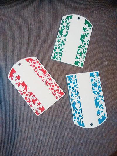 5 tag natalizie in cartoncino per decorazioni, packaging e idee regalo