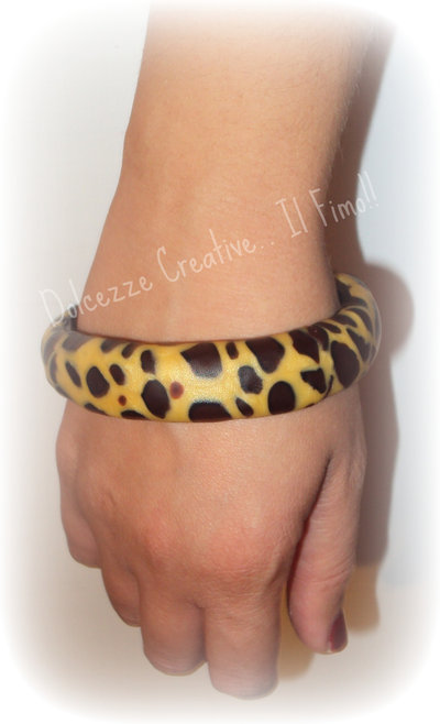 ★★SALDI Bangle bracciale rigido in fimo e cernit giraffatto !