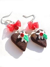 Orecchini Biscotti cuori glassati Natale fimo idea regalo ragazza donna