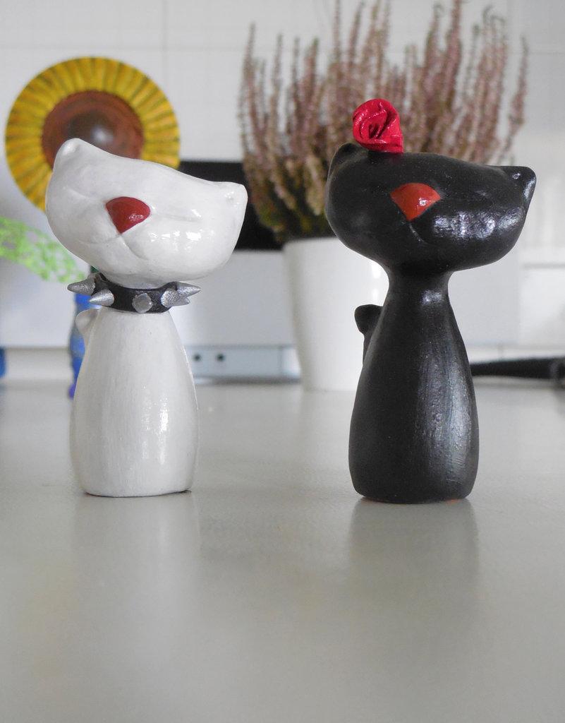 """Coppia di gattini in terracotta """"We Love"""""""