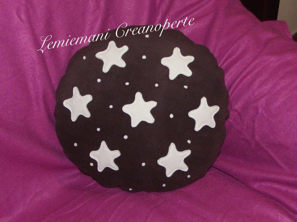 Cuscino a forma di Pandistelle Pan di Stelle idea regalo San Valentino handmade Pile Antipilling pillow 40 cm
