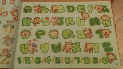 Alfabeto scimmiette schema punto croce