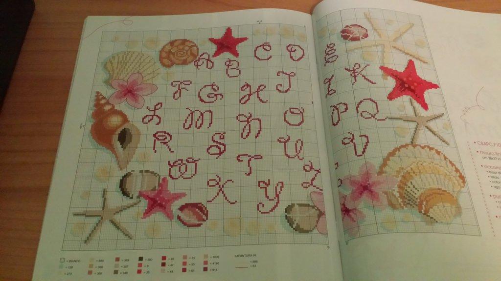 Alfabeto con stelle marine, punto croce