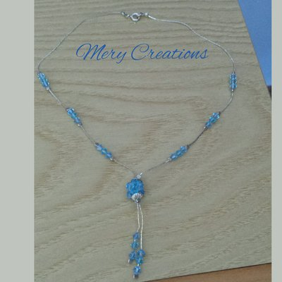 Collana swaroski con pendenti, azzurro
