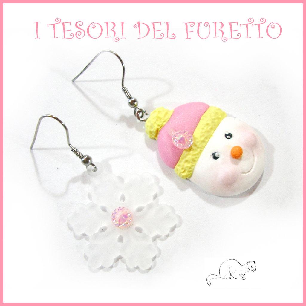 """Orecchin Natale 2016 """" pupazzo di neve """" rosa giallo  omino snowman fimo cernit Kawaii"""