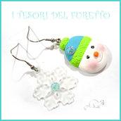 """Orecchini Natale """" omino neve e fiocco lucite"""" turchese fimo cernit idea regalo Kawaii bijoux Natalizi"""