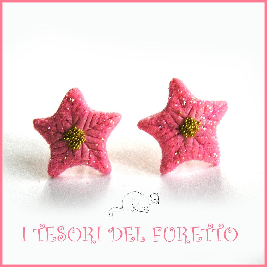 """Orecchini Natale lobo """" stella di Natale rosa glitter """" fimo cernit Kawaii idea regalo perno"""
