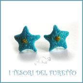 """Orecchini Natale lobo """" stella di Natale azzurro glitter """" fimo cernit Kawaii idea regalo perno"""