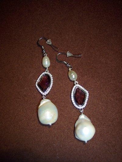 Orecchini in argento925 con perle e precious links ametista