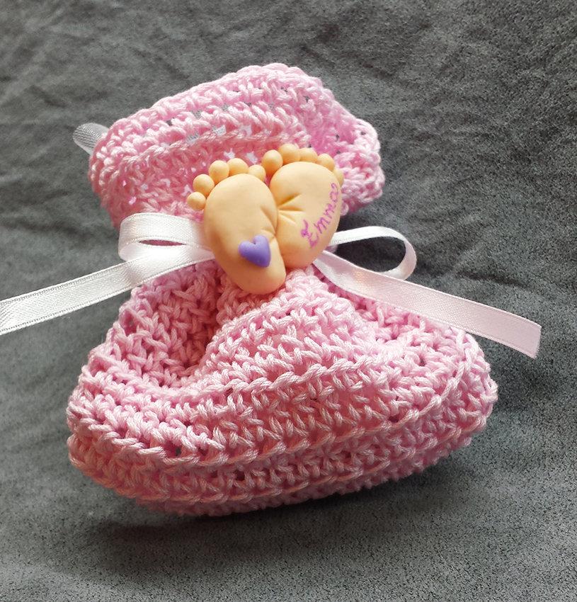 Bomboniera Completa Battesimo nascita Bimba Bambina, piedini, sacchettino confetti
