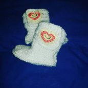 Stivaletti scarpette scarpine tipo Ugg neonato bebè