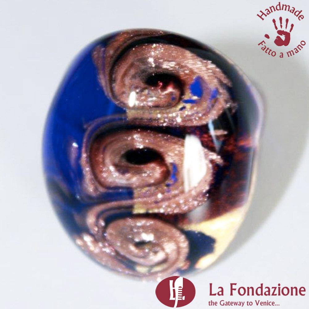 Tre vortici luxury blu - Anelli a fascia in vetro di Murano Fatto a mano