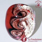 Tre vortici luxury rosso e argento - Anelli a fascia in vetro di Murano Fatto a mano