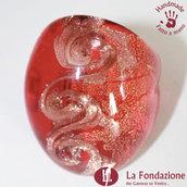 Tre vortici luxury rosso - Anelli a fascia in vetro di Murano Fatto a mano