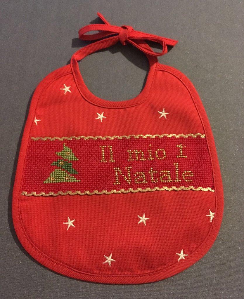 """Bavaglino """"Il mio 1* Natale"""" rosso"""