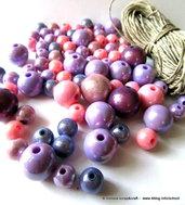 """Kit """"Glicine"""" per collane con pattern, perle in resina e filato di puro lino"""
