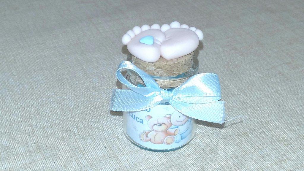 Bomboniera completa piedini in fimo bimbo bimba vasetto di vetro ideale per nascita e battesimo