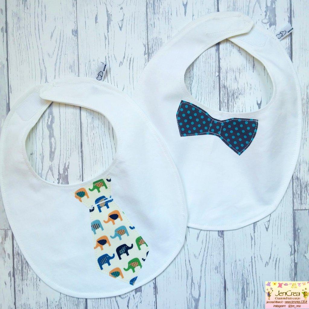 Set di 2 bavaglini cravatta bambino