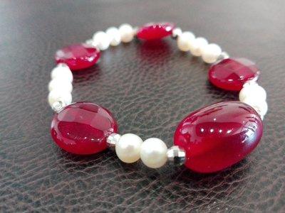 Bracciale di perle con dischi di radice di rubino
