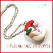 """Collana Natale 2016 """" Babbo Natale luna"""" fimo cernit Kawaii idea regalo bambina donna economico bijoux Natalizi"""