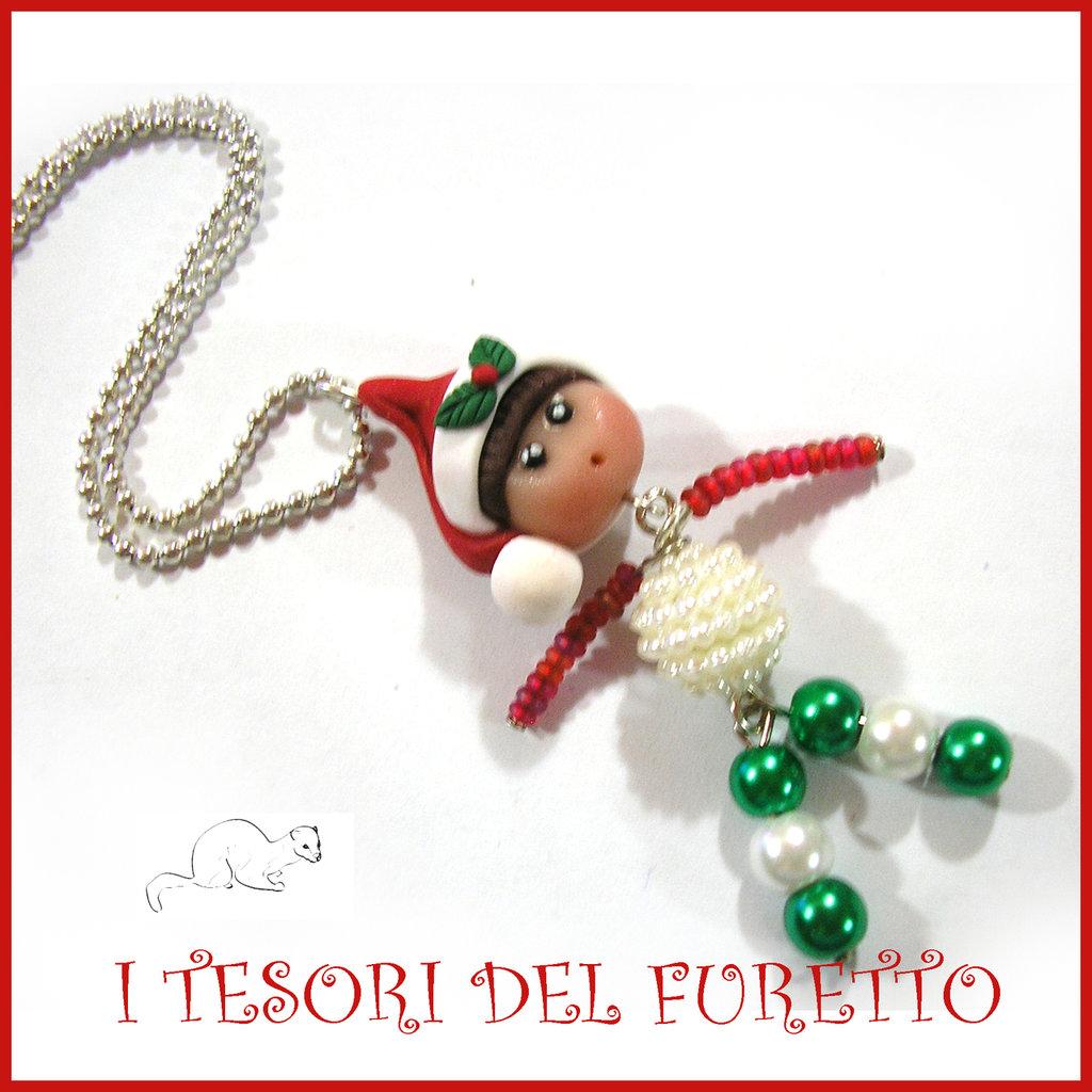 "Collana Natale 2016 "" elfo di perline "" fimo cernit idea regalo bijoux Natalizi kawaii"
