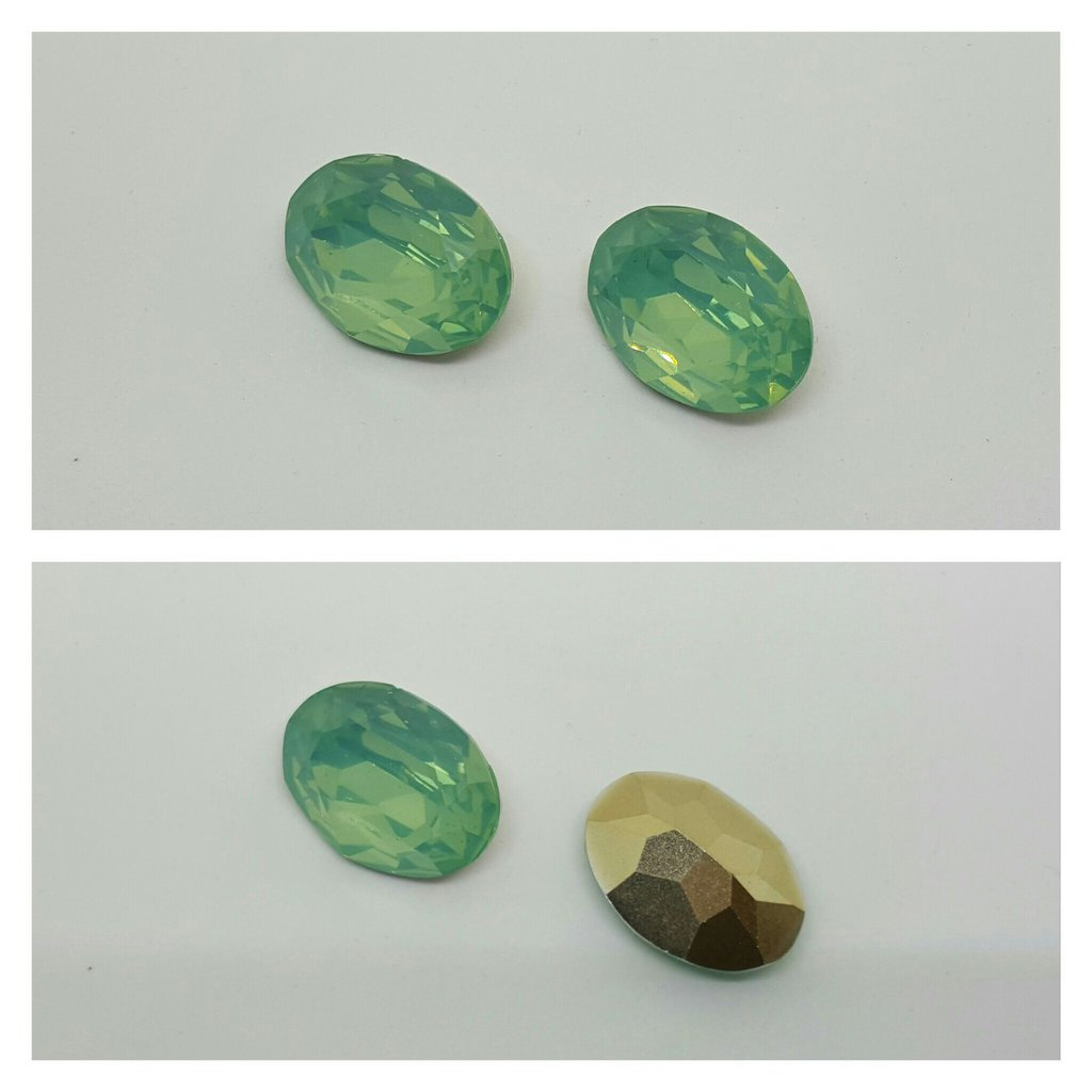 RIVOLI OVALI IN RESINA - Emerald Opal Effect- 18x25mm