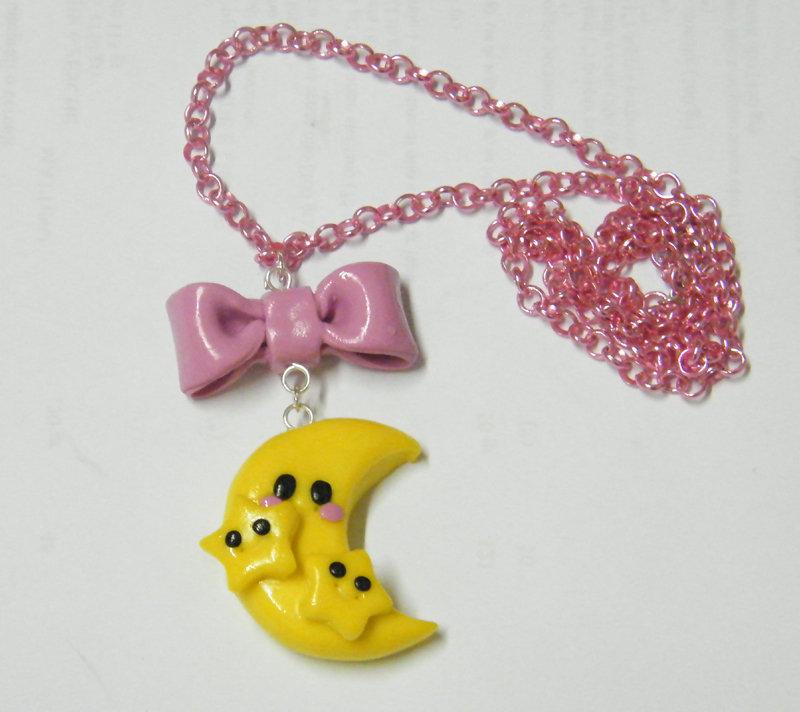 Collana Luna e stelle in rosa