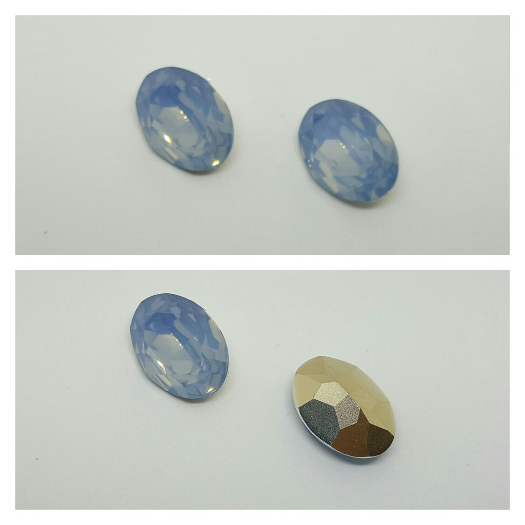 RIVOLI OVALI IN RESINA - Light Blue Opal Effect- 18x25mm